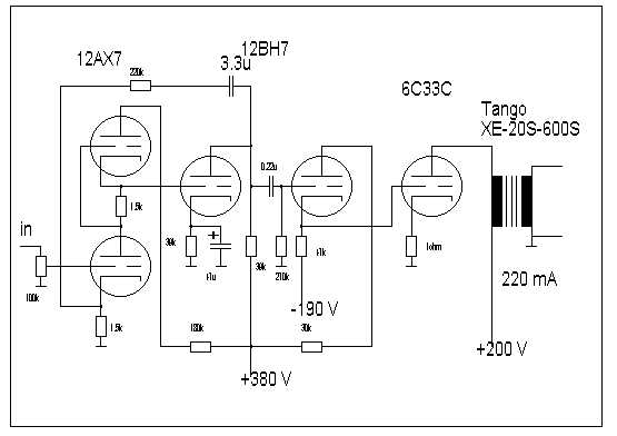 Circuit diagram of 6C33C SE amp